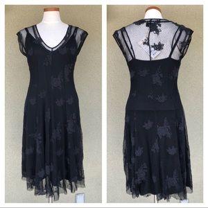 NEW Biya Johnny Was black floral lace midi dress